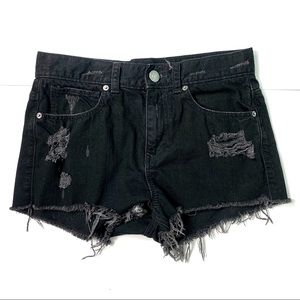 EXPRESS Distressed Denim High Waisted Jean Shorts
